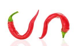 Glühender Paprika gebogene Pfeffer stockbilder