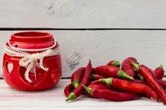 Glühender Paprika-Pfeffer Landhausstil Stockfotos