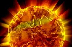 Glühender Planet, glühende Kugel Stockbild