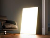 Glühender Rahmen im dunklen Innenraum Wiedergabe 3d Lizenzfreie Stockfotografie