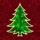 Glühender Smaragdweihnachtsbaum lokalisiert auf dem roten Hintergrund Stockbild