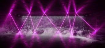 Glühender untertägiger futuristischer moderner NeonSchmutz konkreter Hall Garage Underground Room Rauch-Purpur vibrierender Leu vektor abbildung
