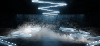 Glühender untertägiger futuristischer moderner NeonSchmutz konkreter Hall Garage Underground Room Tunnel Rauch-Nebel-Blau Leuch lizenzfreie abbildung
