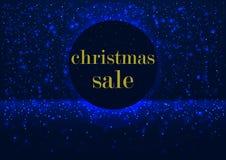 Glühender Verkauf Schild des Feiertags Weihnachtsin einem runden Rahmen, verziert mit glühendem hellem Schnee Stockbild