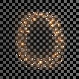 Glühender Weihnachtslicht-Kranz für Weihnachtsfeiertags-Gruß-Karten-Design Frohe Weihnacht-Beschriftungsaufkleber Lizenzfreies Stockfoto