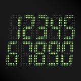 Glühender Zahl-Vektor Digital Satz grüne Zahlen Digital auf schwarzem Hintergrund Klassisches Symbol der Zeit Retro- Uhr, Zählung vektor abbildung