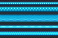 Glühendes Blaues geführt streift nahtlosen realistischen Vektor-Illustrations-Satz Verschiedene Arten führten Girlande vektor abbildung