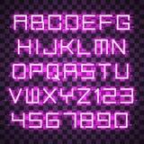 Glühendes blaues purpurrotes Alphabet Stockfoto