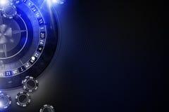 Glühendes blaues Roulette-Spiel Stockfotos
