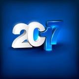 Glühendes 3D, das 2017 auf blauem Hintergrund beschriftet Stockbild