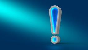 Glühendes großes NeonAusrufezeichen auf dem Tisch, auf blauem Hintergrund, Stockfotos