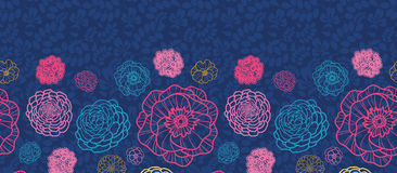 Glühendes horizontales nahtloses Muster der Nachtblumen Stockfotos