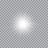 Glühendes Licht des Vektors birst mit Scheinen Stockbild