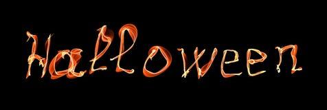 Glühendes Neon-Halloween-Wort über Schwarzem Lizenzfreies Stockfoto