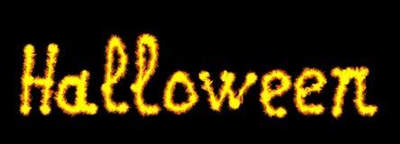 Glühendes Neon-Halloween-Wort über Schwarzem Stockfotografie