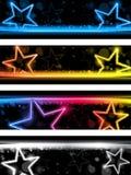 Glühendes Neon Stars Fahnen-Hintergrund Stockfotografie