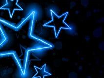 Glühendes Neon Stars Hintergrund lizenzfreie abbildung