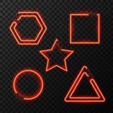 Glühendes Neoneffektzusammenfassungsdreieck, -stern, -quadrat und -kreis Nachtclub- oder Barkonzept auf dunklem Hintergrund edita Lizenzfreie Stockfotografie