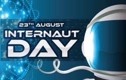 Glühendes Netz im Cyberspace und Astronaut für Internaut-Tag, Vektor-Illustration Lizenzfreie Stockfotografie