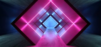 Glühendes purpurrotes Blau Neonlicht-Dreieck Sci FI formte Leuchtstoff Retro- modernes elegantes ausländisches Raumschiff-dunklen stock abbildung