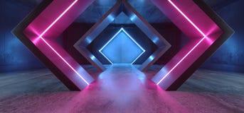 Glühendes purpurrotes Blau Neonlicht-Dreieck Sci FI formte Leuchtstoff Retro- modernes elegantes ausländisches Raumschiff-dunklen vektor abbildung