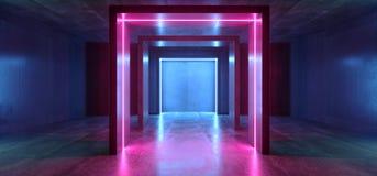 Glühendes purpurrotes Blau Neonlicht-Rechteck Sci FI formte Leuchtstoff Retro- modernes elegantes ausländisches Raumschiff-dunkle vektor abbildung