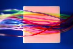 Glühendes Quadrat verdrahtet solch eine verdrahtete Kommunikation Lizenzfreies Stockfoto