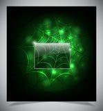 Glühendes Spinnennetz auf einem dunklen Hintergrund Lizenzfreie Stockfotografie