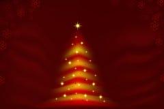 Glühendes Weihnachtsbaumrot und -gold Lizenzfreie Stockfotografie