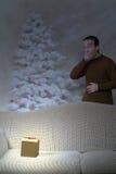Glühendes Weihnachtsgeschenk Stockbild