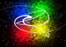 Glüheneffekt auf einen mehrfarbigen Hintergrund stockbild