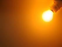 Glühlampe auf einem orange Hintergrund Stockfoto