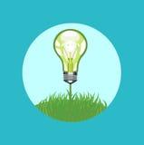 Glühlampe auf flachem Design des Grases Stockbilder