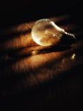 Glühlampe auf hölzernem Schmutzhintergrund Lizenzfreies Stockfoto
