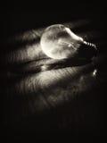 Glühlampe auf hölzernem Schmutzhintergrund Stockfotografie