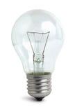 Glühlampe auf Weiß Stockfotos