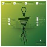 Glühlampe-Baum und Wurzel Infographic Stockfoto