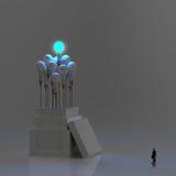 Glühlampe 3d des Bleistifts wie denken außerhalb des Kastens Stockfoto
