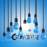 Glühlampe 3d und Designwort KREATIV vektor abbildung