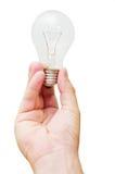 Glühlampe in der Hand Stockfoto