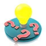 Glühlampe der Idee unter Fragezeichen auf weißem Hintergrund Stockfotos