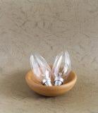 Glühlampe in der keramischen Schüssel Stockfotos