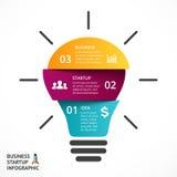 Glühlampe des Vektors infographic Schablone für Lampe Stockfoto
