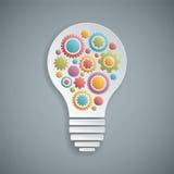 Glühlampe des Vektors mit den Gängen, die zusammenarbeiten Stockfotos