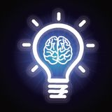 Glühlampe des Vektors und Gehirnikone Stockfotografie