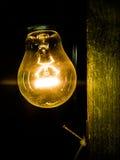 Glühlampe, die in der Dunkelheit hinaufklettert Stockfoto