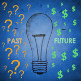 Glühlampe für Vergangenheit und Zukunft Lizenzfreie Stockfotografie