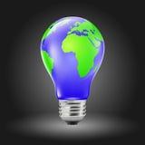 Glühlampe-geformte Erde lizenzfreie abbildung