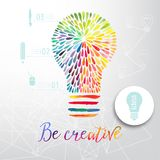 Glühlampe gemacht vom Aquarell, von der Glühlampe und von den kreativen Ikonen, kreatives Konzept des Aquarells Vektorkonzept - K Lizenzfreie Stockfotos