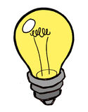 Glühlampe-Idee in der Farbe Lizenzfreie Stockbilder